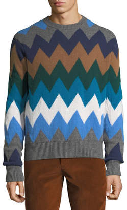 Moncler Men's Diamond Stripe Wool Sweater