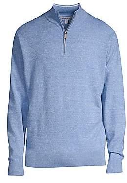 Peter Millar Men's Crown Cool Wool Linen Quarter-Zip Sweater