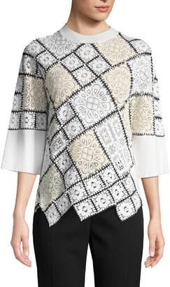 Oscar de la Renta Wool-Blend Lace Patchwork Top