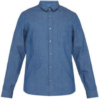 A.P.C. Georges Herringbone Cotton Chambray Shirt - Mens - Blue