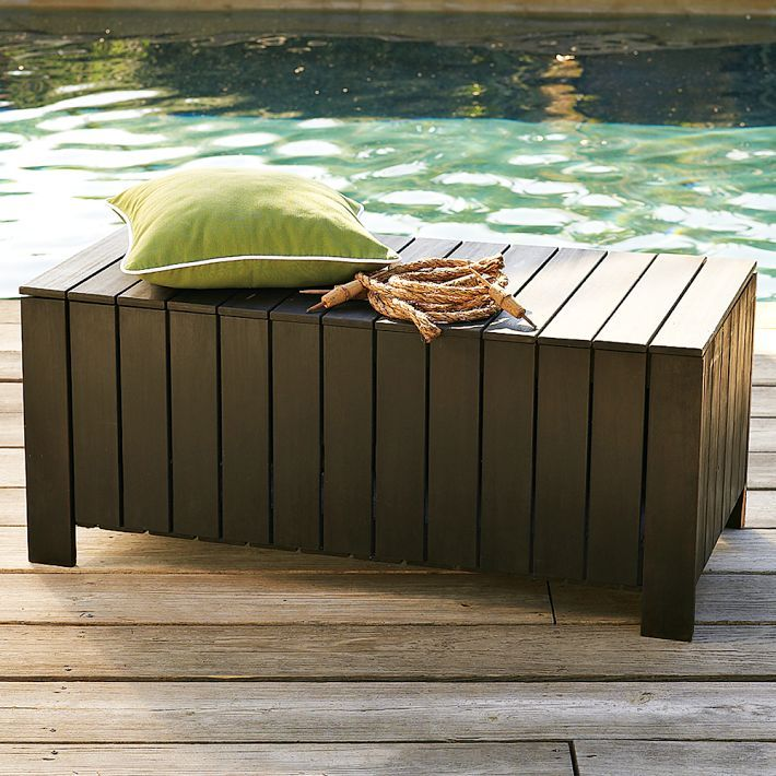 Wood-Slat Storage Bench