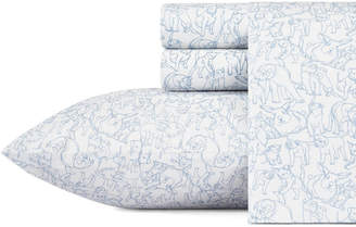 ED Ellen Degeneres Sketched Animals Blue Queen Sheet Set Bedding