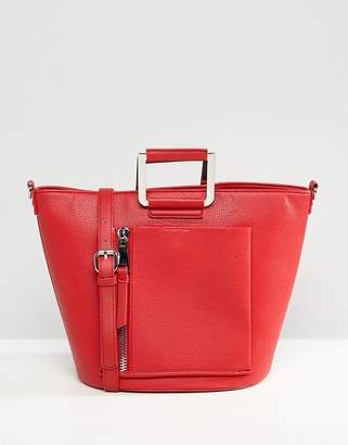 Faith Red Tote Bag With Front Zip Pocket