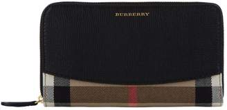 Burberry Elmore Check and Leather Zip-Around Wallet