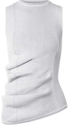 Rick Owens Ruched Ribbed Stretch-knit Top - Light gray