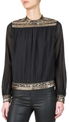 The Kooples Embellished Long-Sleeve Top