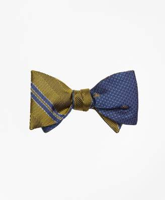 Brooks Brothers Herringbone Double Stripe with Houndstooth Reversible Bow Tie