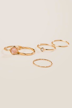 francesca's Zoe Druzy Ring Set in Blush - Blush