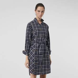 Burberry Equestrian Knight Check Tie-waist Shirt Dress , Size: 06, Blue