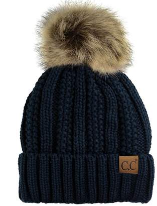 C&C C.C Thick Cable Knit Faux Fuzzy Fur Pom Fleece Lined Skull Cap Cuff Beanie