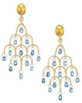Gurhan 22K Gold & Blue Sapphire Chandelier Earrings