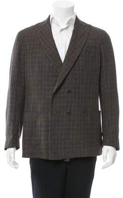 Michael Bastian Double-Breasted Plaid Blazer