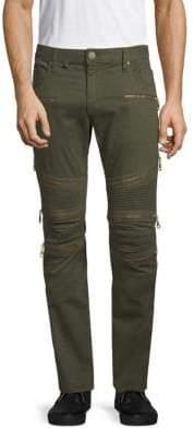 Ribbed Panel Biker Jeans