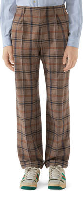 Gucci Men's Plaid Wool Pleated Pants