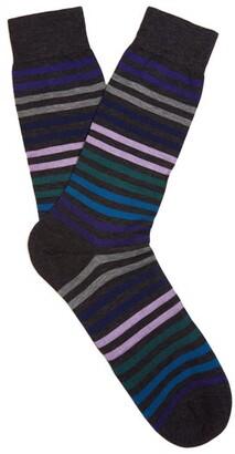 Pantherella Kilburn Striped Fine Knit Socks - Mens - Grey Multi