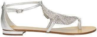Lola Cruz Metallic Mesh Toe Ring Sandals