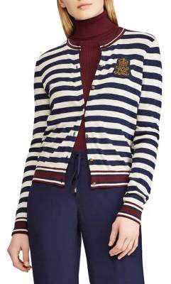 Lauren Ralph Lauren Petite Bullion-Patch Striped Cardigan