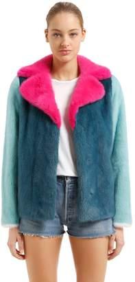 Simonetta Ravizza Color Blocked Mink Fur Jacket