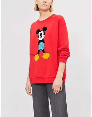 Levi's Mickey Mouse velvet-appliqué cotton-jersey sweatshirt