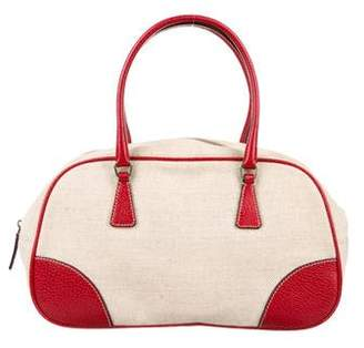 Prada Canvas Leather-Trimmed Handle Bag