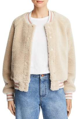 Mother Letterman Sherpa Fleece Varsity Jacket
