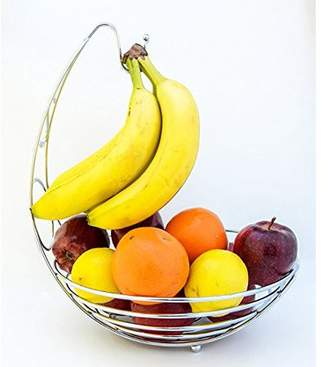 K-Cliffs Metal Fruit Basket with Banana Hanger Quality Countertop Baskets Tabletop Iron Produce Stand Storage Grapes Hanging Rack Chrome