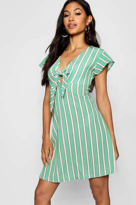 boohoo Knot Front Striped Tea Dress