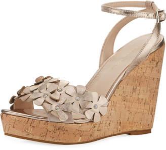 34f670df477c Pelle Moda Waylin Embellished Metallic Wedge Sandals