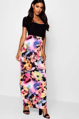 boohoo Rose Print Maxi Skirt