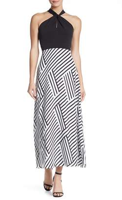 Sandra Darren Halter Printed Maxi Dress