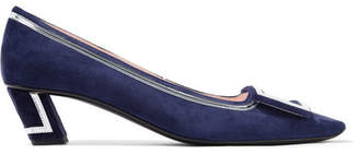 Roger Vivier Belle Vivier Graphic Metallic Leather-trimmed Suede Pumps - Navy