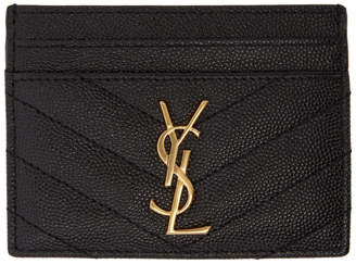 Saint Laurent Black Quilted Monogram Card Holder