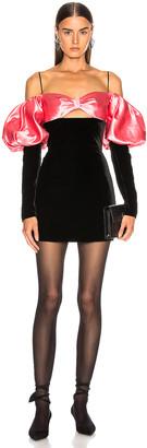 Rasario Puff Sleeve Mini Dress in Black & Pink   FWRD