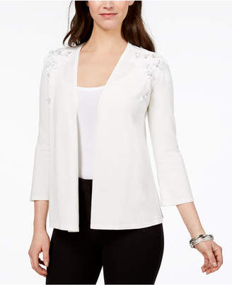 Alfani Sequined Floral-Applique Cardigan, Created for Macy's