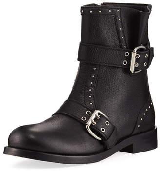 Jimmy Choo Blyss Pebbled Leather Moto Boot, Black