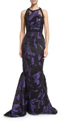 J. Mendel Halter-Neck Two-Tone Organza Gown, Violet/Black $5,900 thestylecure.com