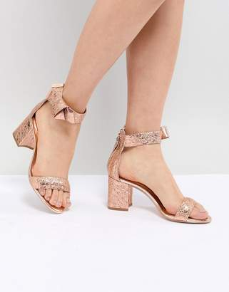 009ceb9f33358 Ted Baker Kerrias Rose Gold Leather Block Heeled Sandal