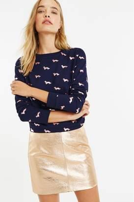 Oasis Womens Blue Foil Daschund Sweater - Blue