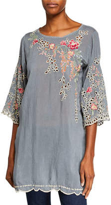 Johnny Was Belina Floral-Embroidered Georgette Tunic w/ Eyelet Detail, Plus Size