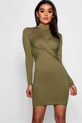 boohoo Knot Front High Neck Long Sleeved Mini Dress