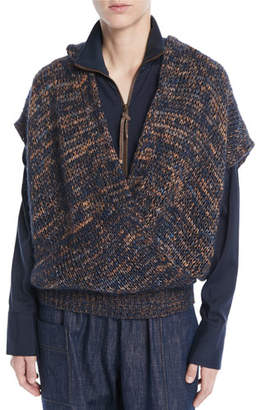 Brunello Cucinelli Hooded Short-Sleeve Mohair-Blend Crossover Top