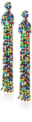 Kenneth Jay Lane Color Bead Tassel Drop Earrings