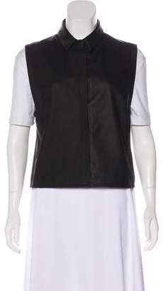 Ji Oh Leather Button-Up Vest