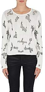 Saint Laurent Women's Stitch-Inset Cashmere Sweater - Natural