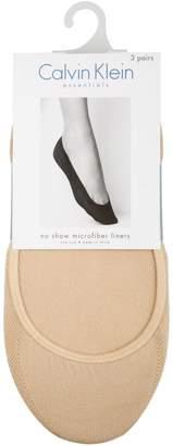 Calvin Klein Three-Pair Microfiber No Show Liner Socks