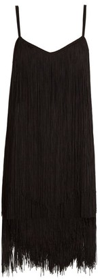 Raey Long Fringe Slip Dress - Womens - Black