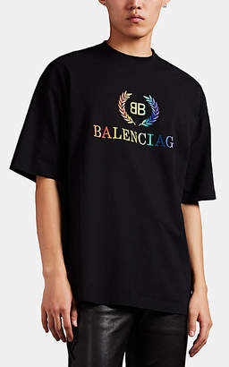 Balenciaga Men's Embroidered-Logo Jersey T-Shirt - Black