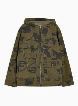 Topman Mens Brown Camouflage Print Short Parka