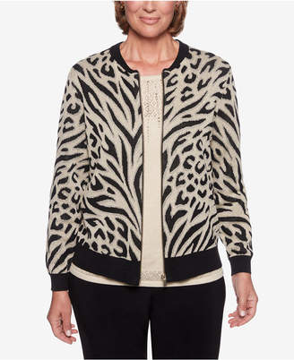 Alfred Dunner Shining Moments Printed Cotton Bomber Jacket