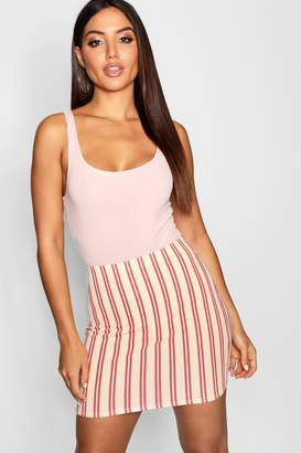 boohoo Tonal Stripe Crepe Mini Skirt